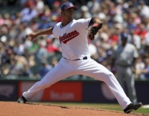 Cleveland Indians' Salazar pitches during MLB American League baseball game against Toronto Blue Jays in Cleveland