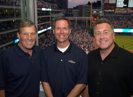 Mike Hegan (far left), with Jim Rosenhaus and Tom Hamilton (photo: MLB.com)